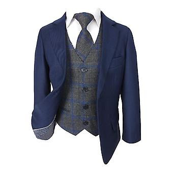 Boys Parliament Blue Suit & Grey Check Tweed Waistcoat Set
