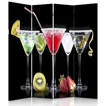 Raumteiler, 4 Paneele, doppelseitig, 360 ° drehbar, Leinwand, Getränke und Früchte 2
