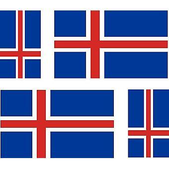 4 X Naklejka Naklejka Naklejka Samochód Motocykl Valise Pc Przenośna flaga Islandia Islandai
