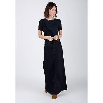 Womens long indigo denim skirt