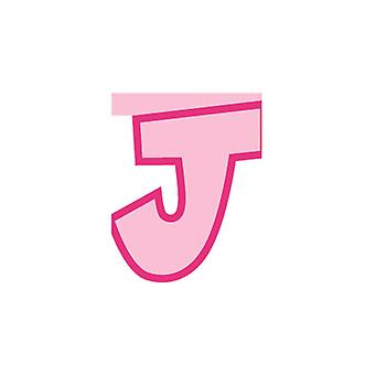 Linking Banner 20cm Pink Letter - J Party Decoration