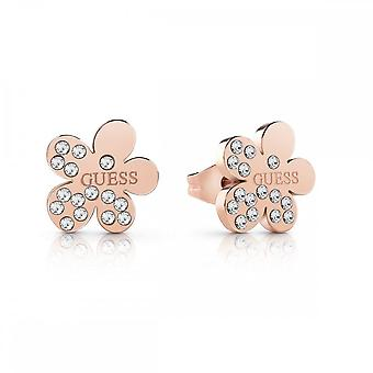 Guess Jewellery Guess Rose Gold Crystal Flower Studs UBE78131