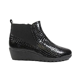 Caprice 25451 Black Patent Leather Crocodile Print Womens Wedge Heel Ankle Boots