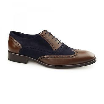 Carvelos Santa Maria Mens Leather Oxford Semi-brogues Brown/navy Suede