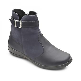 Padders Mary Ladies Leather Extra Wide (2e/3e) Boots Navy