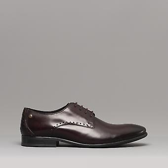 Base London Westbury menns Leather Derby sko vasket bordo