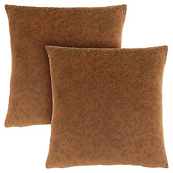 "18"" x 18"" Light Brown, Floral Velvet - Pillow 2pcs"