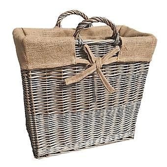 Slanke antieke Wash Wicker log mand