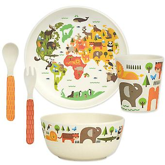 Petit Collage 5 Piece Bamboo Eco Dinnerware Set, Our World