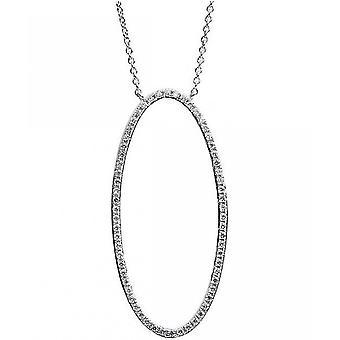 Diamond Collier Collier-oval-14K 585 hvidguld-0,23 CT.