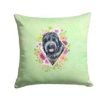 Russische schwarze Terrier grüne Blumen Stoff dekorative Kissen