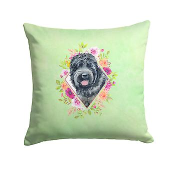 Russian Black Terrier Green Flowers Fabric Decorative Pillow