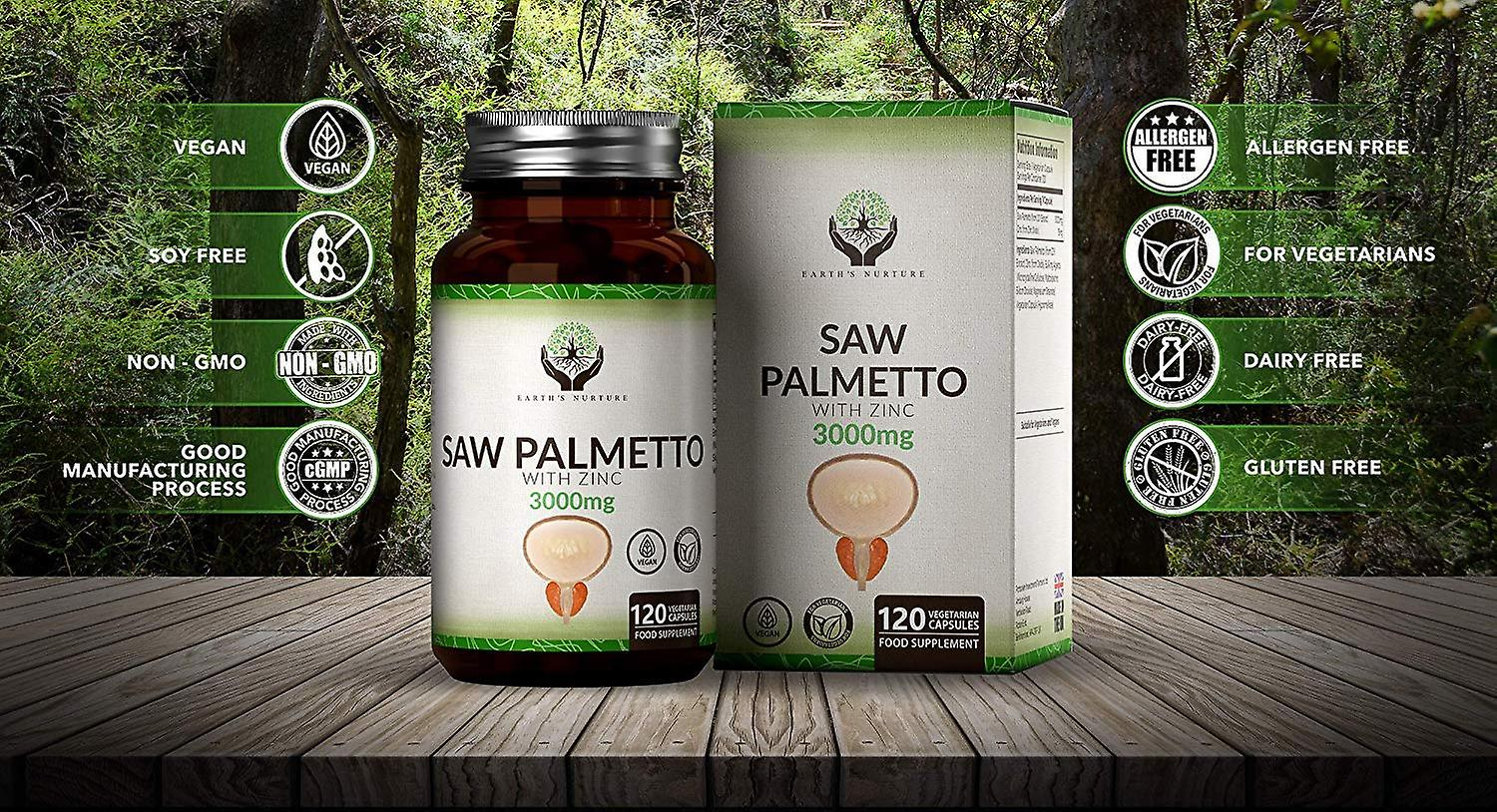 Earth's Nurture Saw Palmetto Extract with Zinc (3000mg) Capsules