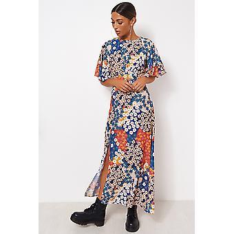 Chloe Orange floral Cape ermet Maxi kjole
