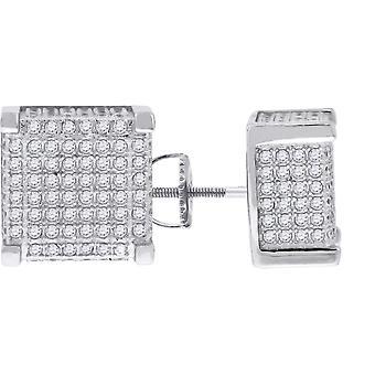 925 Sterling Silver Pánské CZ Cubic Zirconia Simulované Diamond Náměstí Stud náušnice šperky dárky pro muže