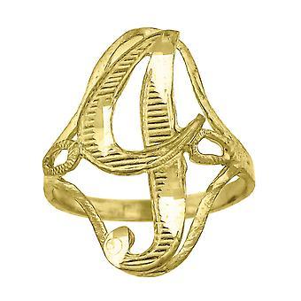 10k צהוב נשים זהב שם מכתב מונוגרמה הראשונה טבעת מידות 20.5 x 2.00 mm גודל רחב 8 תכשיטים מתנות f