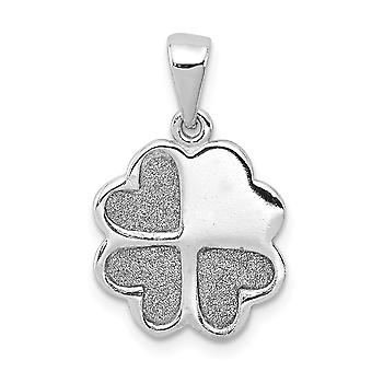 13mm 925 Sterling Silver Rhodium plate Enamel Glitter Fabric Clover Hearts Pendant Necklace Jewelry Gifts for Women