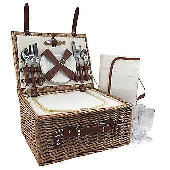 4 személy klasszikus fonott felszerelt piknik kosár