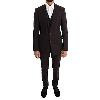 Dolce & Gabbana Brown Striped Gold Slim Fit 3 Piece Suit