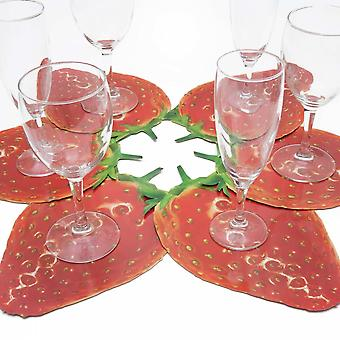 6 glass coasters motif Strawberry Red