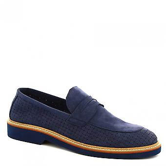 Leonardo Shoes Men's handmade loafers shoes in blue woven suede leather