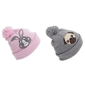 Childrens Girls Animal Design Glitter Winter Beanie Hat With Pom Pom