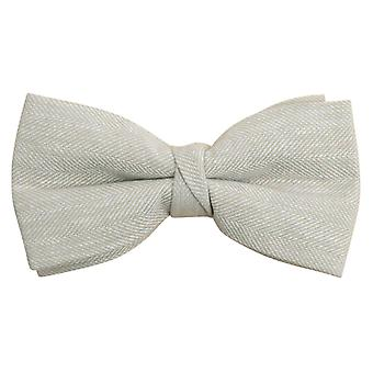 Dobell Mens Cream Herringbone Linen Bow Tie Pre-Tied