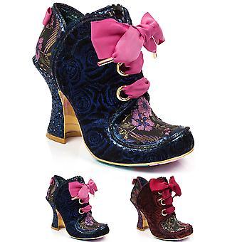 Womens Irregular Choice Baroness Velvet Ankle Boot Evening Block Heel