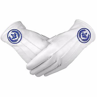 Masonic regalia white soft leather gloves square compass & g blue