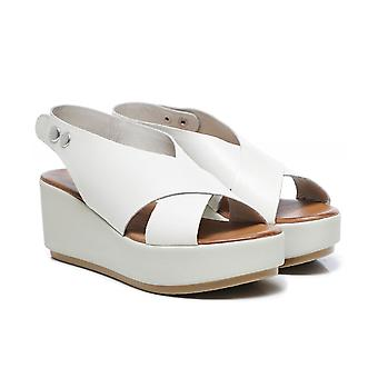 Inuovo Leather Slingback Wedge Sandals