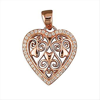 TOC 925 Silver Rose Gold Plated Filigree Crystal Heart Pendant on 16 Inch Chain