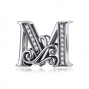 Sterling Silver Alphabet Charm Letter M With Transparent Zirconia Stones - 5984