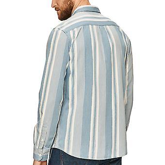 Wrangler Mens Long Sleeve 1 Pocket Button Down Striped Shirt Top - Indigo