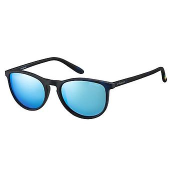 Polaroid Junior PLD8016/N SEC/JY Blue Havana/Polarised Grey-Blue Mirror Sunglasses