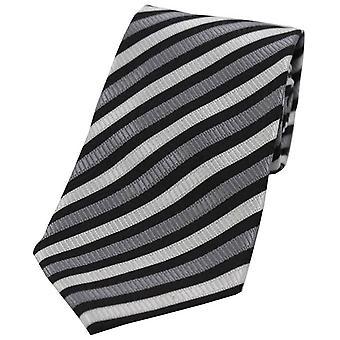 David Van Hagen Striped Tie Polyester - gris/blanc