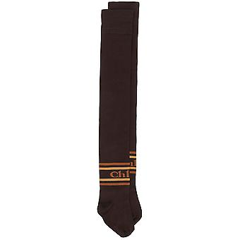 Chaussettes authentiques Brown Thigh High Logo