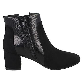 Spot On Womens/Ladies Chunky Heel Panel Ankle Boots