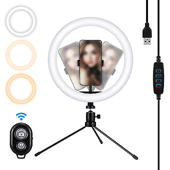Mohoo 10 inch 3 color modes 10 brightness levels usb video light with 360 degree rotation head tripod for tik tok youtube live streaming