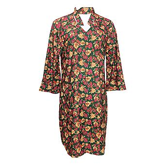 Du Jour Dress Floral Printed 3/4 Sleeve w/ Neck Tie Detail Green A293763