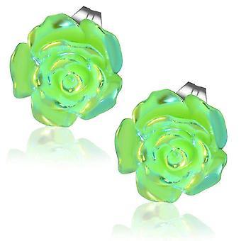 Lśniące kolczyki z zielonej róży