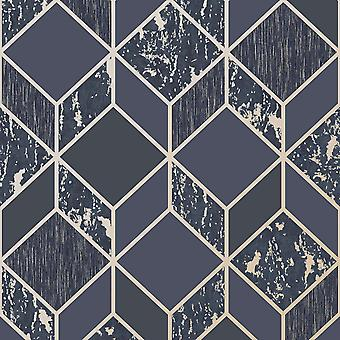 Superfresco Vittorio Geo Wallpaper Navy / Pale Gold Graham and Brown 107964