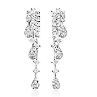 Waterfall Made with Swarovski Zirconia Earrings Sterling Silver, 2.22 Ct TJC