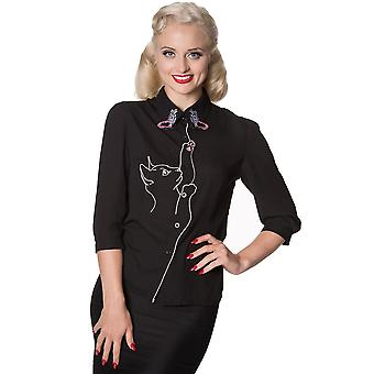 Interdit - chat et papillons - chemisier / chemise pour femme