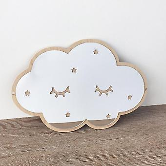 Wood Frame Decorative Mirror - Nordic Crown Cloud Stars Cat Acrylic Decorative Mirror