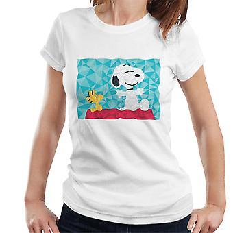 Peanuts Snoopy Woodstock istuu Kennel Geometrinen Naiset's T-paita