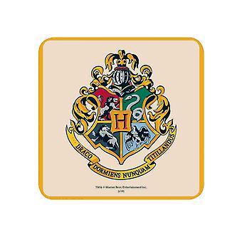 Harry Potter Coaster Hogwarts School Crest new Official Yellow 10x10cm