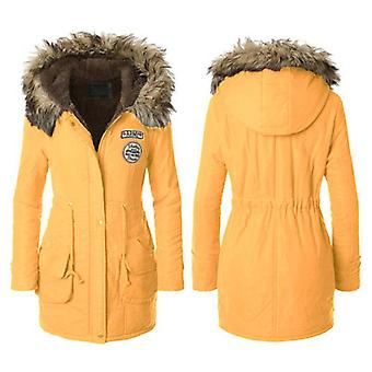 Womens Faux Fur Trim Hood Lange Winter Parka Jas