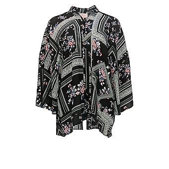 Laurie Felt Women's Top Open Front Printed Kimono Black A309543