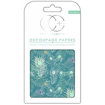 Craft Consortium Peacock Blue Decoupage Papers
