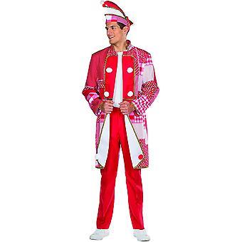 Frack Rood / Witte Mannen Jas Kostuum Fool Carnaval